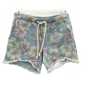 Aerie Floral Pull On Frayed Denim Shorts Small